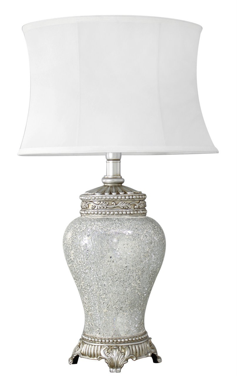 Bronze Sparkle Mosaic Antique Silver Regency Lamp With Chocolate Trimmed Shade