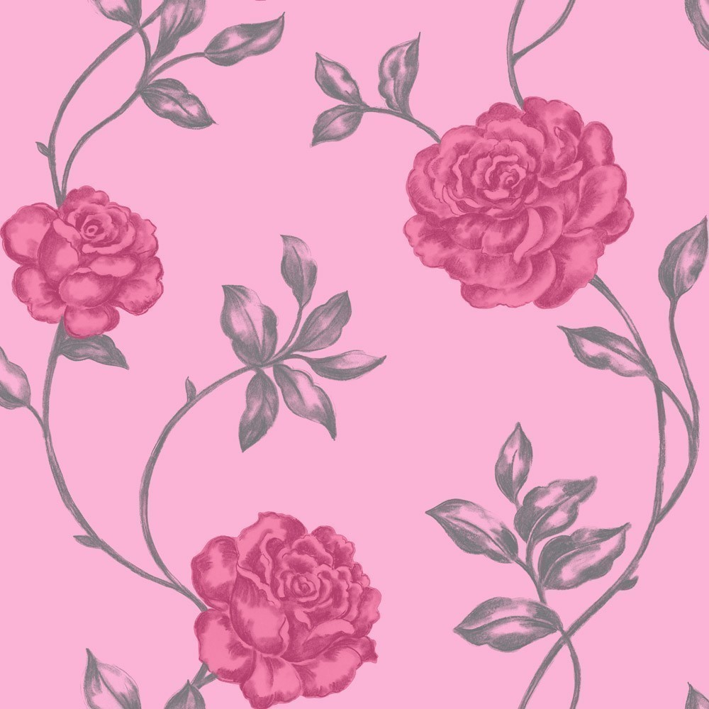 Queen Rose Candy Pink Wallpaper By Crown CWV M0523